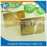 V-64 Gold metal tag labels for swimming clothing custom garment metal label tag with 2 holes also suitable for restaurant