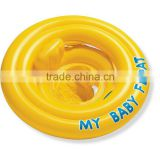 yellow vivid color round inflatable ride on pool toy swimming ring for baby trainer