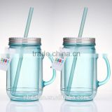 10oz -12oz Double Wall Plastic Mason Jars wholesale with lids and straw