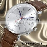 2016 KYT custom logo 316L stainless steel case leather strap man watch