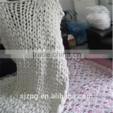 Hot sales white chunky knit throw wool blankets Chunky Knit Merino Wool Blanket