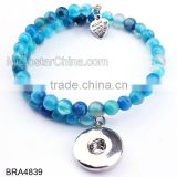 Hot New Products for 2015 With Snap Button Charm Colorful Bead Bracelet DIY Handmade Bracelet