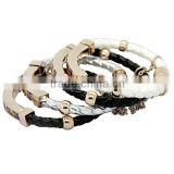 SRB3135 Multi-Color Braid Leather Bangle Rhinestone Setting Stainless Steel Charm Leather Bracelet