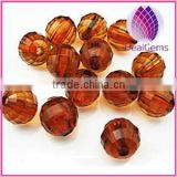 Bead, acrylic, brown,12mm faceted round