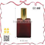 Luxury red glass bottle golden cap sanitary eau de parfum packaging