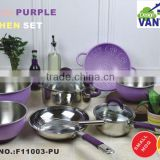 modern kitchen designs 10pcs stainless steel cookware set with purple silicon/kitchen accessories/fruit basket