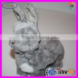 D377 Animal Newborn Grey Rabbit Stuffed Battery-operated Plush Toy Rabbit