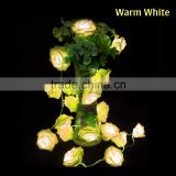 20 LED Rose Flower String Lights for Wedding Garden Party Christmas Decoration Warm White