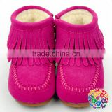 Hot Pink Leather With Tassels Winter Snow Boots Ankle Boots Kids