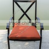 outdoor metal dining armchair restaurant aluminum chair with seat cushion