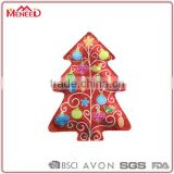 Canton fair Booth Number: 6.0H24 Xmas Tree shaped red melamine reusable plastic dinnerware snack plate