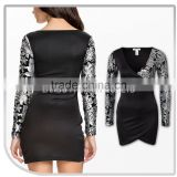 Popular Lady Short Black Viscose Dress with Sequin Printevening sequins beaded dresses