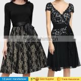 Vintage black wrap embroidery lace knee length casual cocktail party dresses for elegant mature women over 50