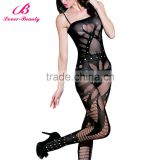 Lover-Beauty Mature Ladies Black Full Body Fishnet decorative One Piece Body Stocking NO MOQ Wholesale