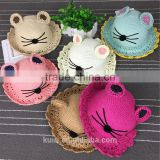 Pretty Lovely Kids Straw Hat Cat Ears Hand-woven Soft Straw Hats Baby Cartoon Cap Summer Straw Sunbonnet Infants Children mz-255