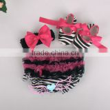 2015 baby black stripe cotton ruffle bloomer set with shoes baby cloth diaper baby underwear Image