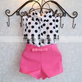 Baby Girl Clothes Kids Sleeveless Dot Shirt And Shorts Set M7041805