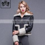 New arrival winter double face coat sheepskin fur jacket women leather motorcycle jacket