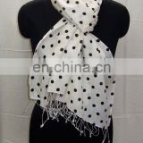 Silk Pashmina wool shawl with polka dot print