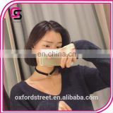 South Korea contracted temperament collar metal circles long pendant fashion faux suede short necklace, necklace