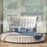 Luxury white hotel bed with high headboard/round bed/fabric bed
