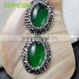 Topearl Jewelry Fashionable White Shell Pendant Rhinestones Clay Pave Green Agate Stone Pendant Designs for Women SPD07