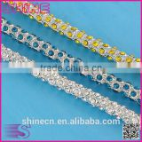Wholesale bulk AAA cheap white bling bling glass crystal rhinestone trim, rhinestone cup chain for wedding dress