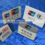 acrylic L-shaped bending table card wholesale plexiglass bank China UnionPay card desktop advertising sign