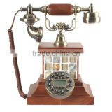 Classic 1960 swivel plate dial brown telephone antique fashion wood telephone vintage rustic