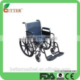 folding power coated steel wheelchair for elderly caring