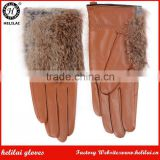 Europe-Bestselling Ladies Rabbit Fur Trimmed Sheep Leather Gloves Tan Fashion Leather Gloves for Girls