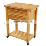 Bamboo Kitchen Serving Trolley Service Cart with Food Keeping Drawers and Casters Wheels for Sale