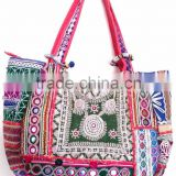 Beautiful Stylish Tribal Gypsy Vintage Banjara bag Boho Hippie mirror work embroidery multi color large Tote shoppers