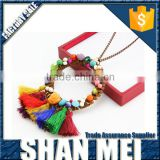 new fashion sweater necklace decor with hollow circle pendant and multi-color cord tassel