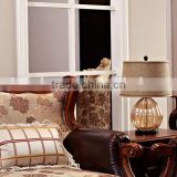 factory price antique style light brown glass lamps with ball shape and barrel linen shade for reading