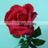 Silk flower red rose, single long stem flower artificial flower rose
