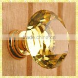 Crystal Diamond Yellow Glass Door Knobs For Furniture Cabinet Handle