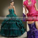 2012 strapless beaded embroidered taffeta lace custom-made ball gown with jacket CWFab3550
