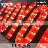 waterproof shopfront logo retro bulb metal letters sign decorative advertising backdrop lamp