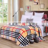 2016 hot selling printed striped plaid flannel fleece throw blanket made in china