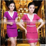 OEM Chinese hotel restaurant uniform waiter hotel cotton housekeeper uniform for waitress apron uniform