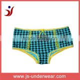 js-348 Houndstooth printing high waist panty with sexy lace