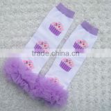 Christmas baby leg warmers Cotton Knitted Printed warmer with ruffles toddler knee high socks