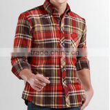 Men's slim fit long sleeve flannel Plaid shirt Button Down Collar , Adjustable 2 Button Cuffs , Curved Bottom Hem