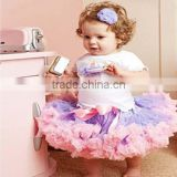 Fashion Pink with light purple Trim Nylon Chiffon Petti skirt for girls,baby Toddler Pettiskirt