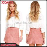 2017 Summer Fashion Ladies Formal Pink Suede Mini Wrap Short Skirt Suit Pencil Office Skirts Designs