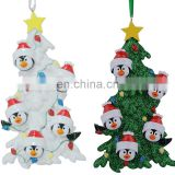 Resin penguin Christmas ornaments with tree as personalized gifts holiday home decor