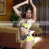 Sexy Yellow/plaid Lingerie Opaque Halloween Cosplay Costume Hot Japanese Girls Sexy Women HALLOWEEN RACE CAR DRIVER COSTUMES
