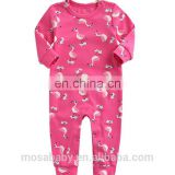 Factory Ins Popular Baby Girl Soft Cotton Romper Rose Pink With Flamingo Print Suit for 0-24 Months