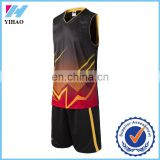 New arrival men basketball jersey uniform design Durable useful cheap black basketball uniforms Yihao 2016